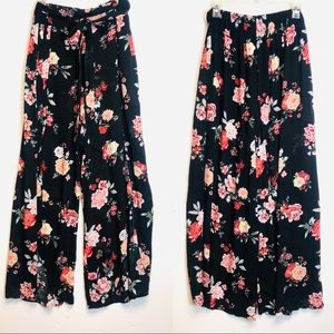 Wide, women slit front floral pants size xl